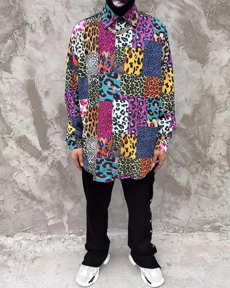 スーパーOBACHAN'Sマルチカラーパッチワークレオパード長袖シャツの画像3